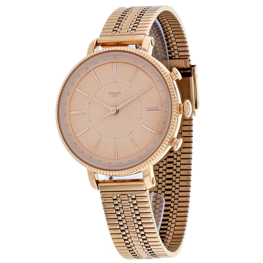 Ladies Rose Gold Hybrid Smartwatch Cameron Stainless Steel Analogue Fossil Watch FTW5054