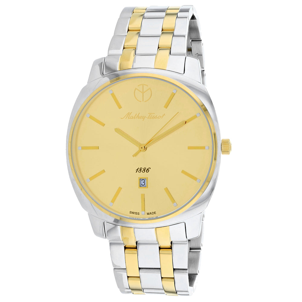 Mens's Silver-Gold Smart Stainless Steel Analogue Mathey Tissot Watch H6940MBDI
