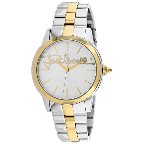 Ladies Silver Gold Logo Stainless Steel Analogue Just Cavalli Watch JC1L006M0125