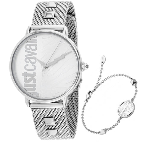 Ladies Silver Zebra Stainless Steel Mesh Analogue Just Cavalli Watch JC1L077M0055