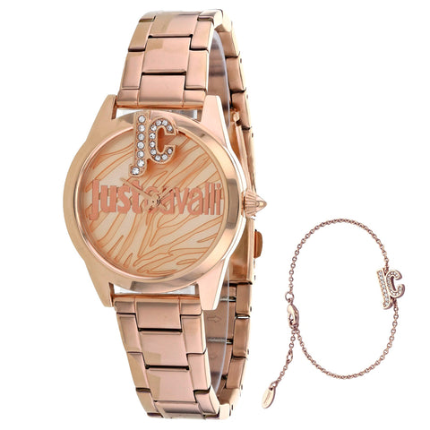 Ladies Rose Gold Logo Stainless Steel Analogue Just Cavalli Watch JC1L099M0075