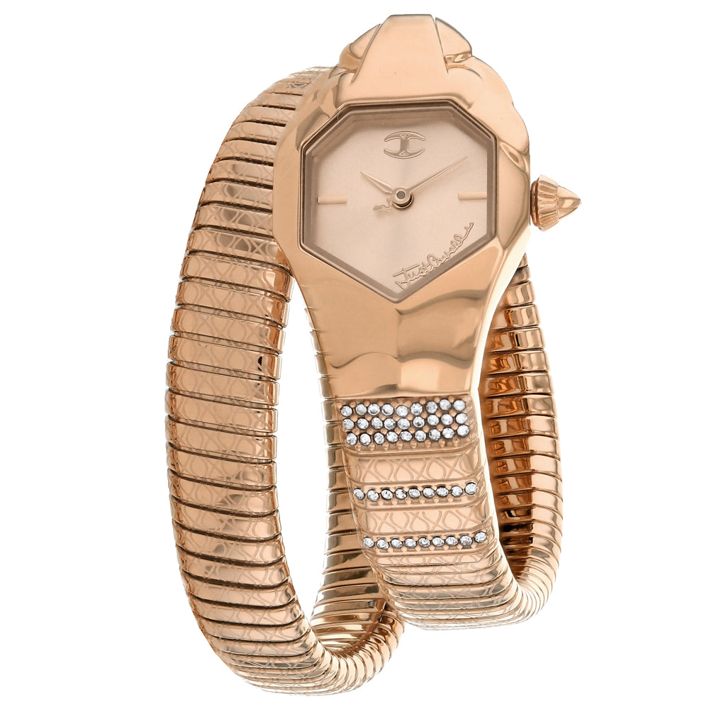 Ladies Rose Gold Glam Snake Stainless Steel Analogue Just Cavalli Watch JC1L113M0035