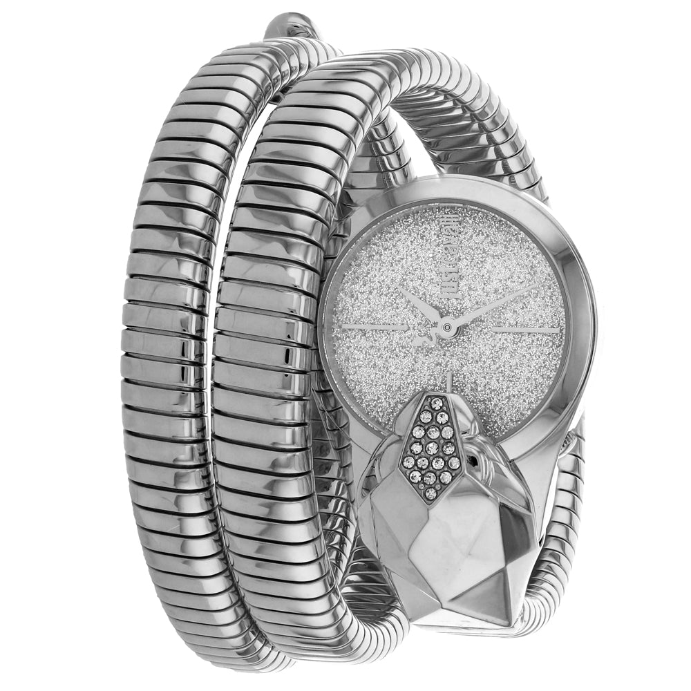 Ladies Silver Glam Snake Stainless Steel Analogue Just Cavalli Watch JC1L114M0015