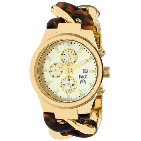 Ladies Gold Lev Stainless Steel Chronograph Jivago Watch JV1231