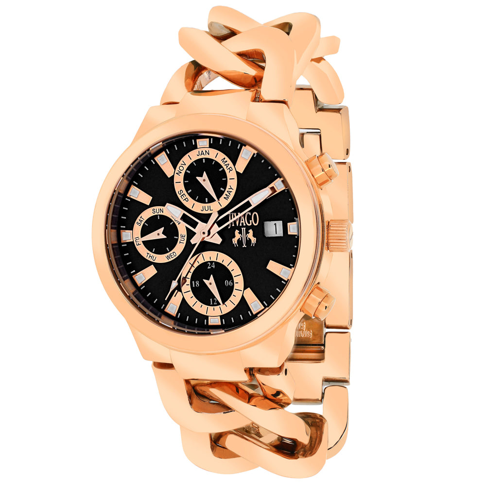 Ladies Rose Gold Levley Stainless Steel Chronograph Jivago Watch JV1243