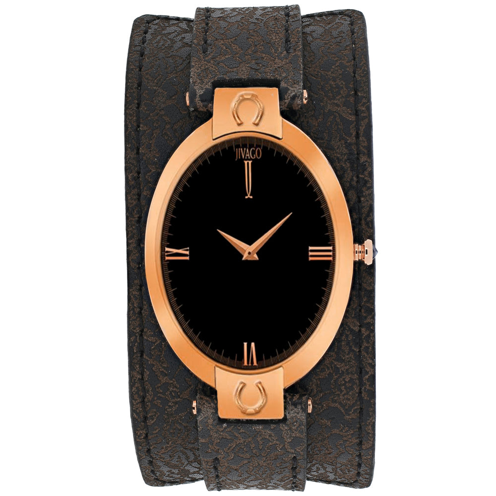 Ladies Dark Brown Good Luck Leather Analogue Jivago Watch JV1830