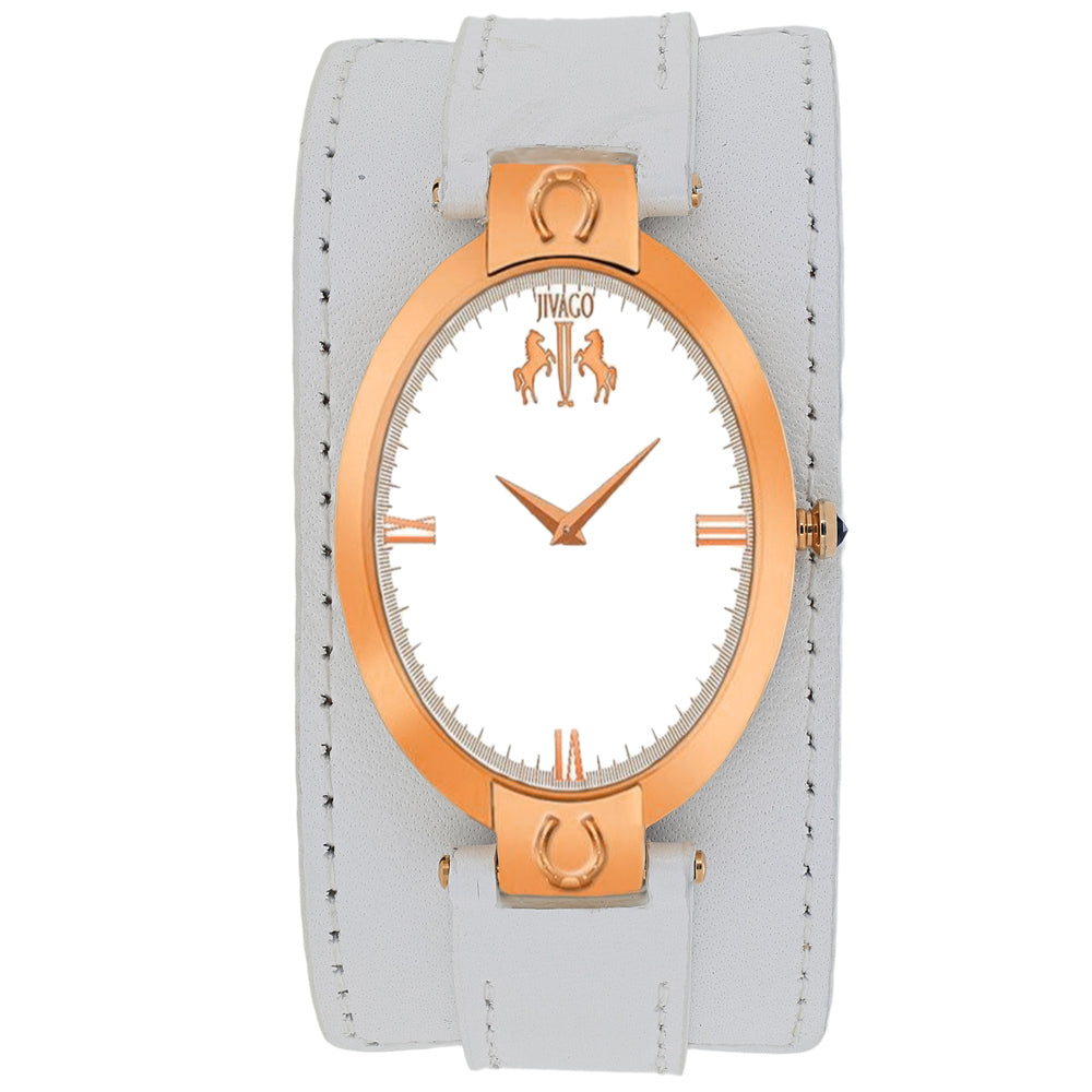 Ladies White Good Luck Leather Analogue Jivago Watch JV1833