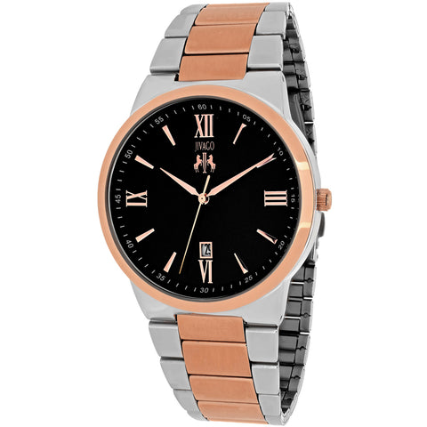 Men's Silver Rose Gold Clarity Stainless Steel Analogue Jivago Watch JV3515