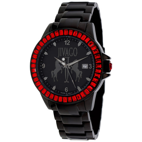 Ladies Black Folie Stainless Steel Analogue Jivago Watch JV4216