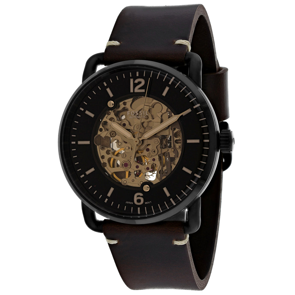 Men's Brown Commuter Leather Analogue Fossil Watch ME3158
