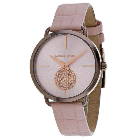 Ladies Pink Portia Leather Analogue Michael Kors Watch MK2721