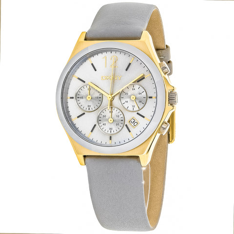 Ladies Grey Parsons Leather Chronograph DKNY Watch NY2478