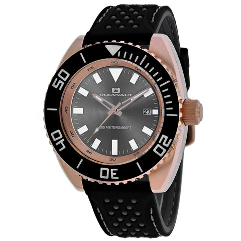 Men's Black Submersion Rubber Analogue Oceanaut Watch OC0524