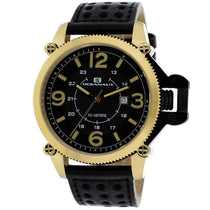 Men's Black Scorpion Leather Analogue Oceanaut Watch OC4112
