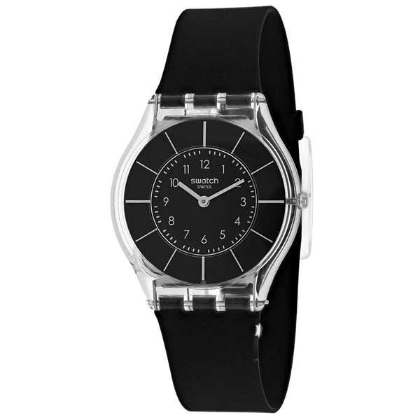 Ladies Black Classiness Rubber Analogue Swatch Watch SFK61