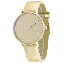 Ladies Gold Aaren Leather Analogue Skagen Watch SKW2852