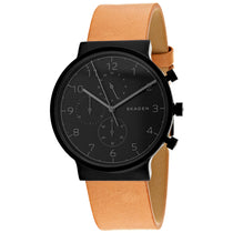 Men's Brown Ancher Leather Chronograph Skagen Watch SKW6359