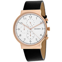 Men's Black Ancher Leather Analogue Skagen Watch SKW6371