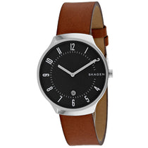 Men's Brown Grenen Leather Analogue Skagen Watch SKW6457