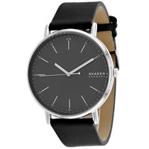 Men's Black Signature Leather Analogue Skagen Watch SKW6528