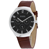 Men's Brown Signature Leather Analogue Skagen Watch SKW6536