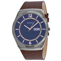Men's Brown Signature Leather Analogue Skagen Watch SKW6574