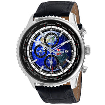 Men's Black Meridian World Timer GMT Leather Chronograph Seapro Watch SP7130