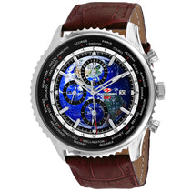 Men's Brown Meridian World Timer GMT Leather Chronograph Seapro Watch SP7131