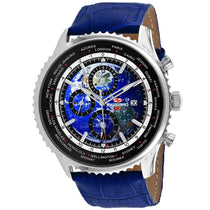 Men's Blue Meridian World Timer GMT Leather Chronograph Seapro Watch SP7132