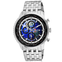 Men's Blue Meridian World Timer GMT Stainless Steel Chronograph Seapro Watch SP7320