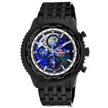 Men's Black Meridian World Timer GMT Stainless Steel Chronograph Seapro Watch SP7322