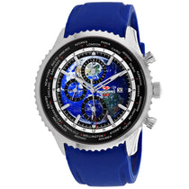 Men's Blue Meridian World Timer GMT Rubber Chronograph Seapro Watch SP7521