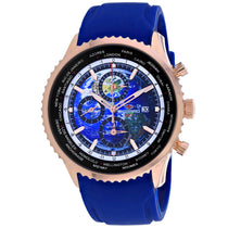 Men's Blue Meridian World Timer GMT Rubber Chronograph Seapro Watch SP7522