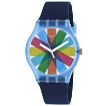 Men's Blue New Gent Rubber Analogue Swatch Watch SUON133