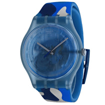 Men's Blue Skeleton Rubber Analogue Swatch Watch SUOZ215