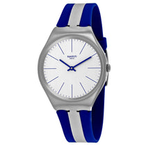 Men's White-Blue Skincarat Rubber Analogue Swatch Watch SYXS107