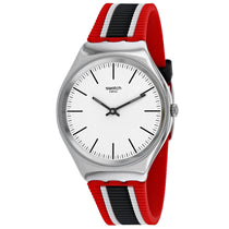 Men's White Skinflag Rubber Analogue Swatch Watch SYXS114