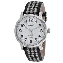Ladies Houndsooth Leather Analogue Timex Watch TW2P98800