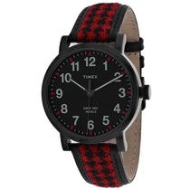 Men's Red Houndsooth Leather Analogue Timex Watch TW2P98900