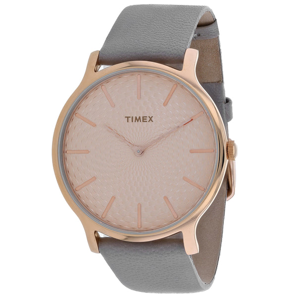 Ladies Brown Metroline Leather Analogue Timex Watch TW2R49500