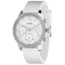 Ladies White Guess Rubber Chronograph Guess Watch W1135L7