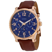 Men's Brown Arrow Leather Chronograph Guess Watch W1215G1