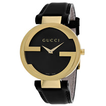 Ladies Black Interlocking Leather Analogue Gucci Watch YA133326