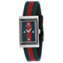 Ladies Two Tone G-Frame Leather Analogue Gucci Watch YA147404