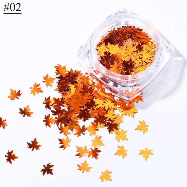 Nail Art Maple Leaves Holographic Glitter Flakes For Nails Autumn Design Decor