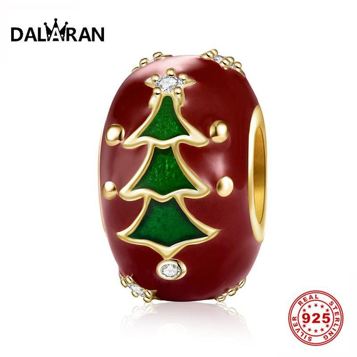 New Christmas Tree 925 Sterling Silver Charm Round Red Enamel Bead Fit Original Pandora Bracelet for Women Christmas Gift