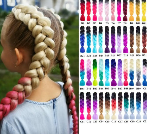 Miss Rola 100g 24 Inch Single Ombre Color Synthetic Hair Extension Crochet Twist Jumbo Braiding Kanekalon Hair - Joy Shop