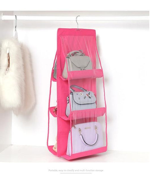 6 Pocket Foldable Hanging Bag 3 Layers Folding Shelf Bag Purse Handbag Organizer Door Sundry Pocket Hanger Storage Closet Hanger - Joy Shop