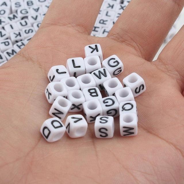 Mixed Letter Acrylic Beads Round Flat Alphabet Beads For Jewelry Making Handmade Diy Bracelet Necklace