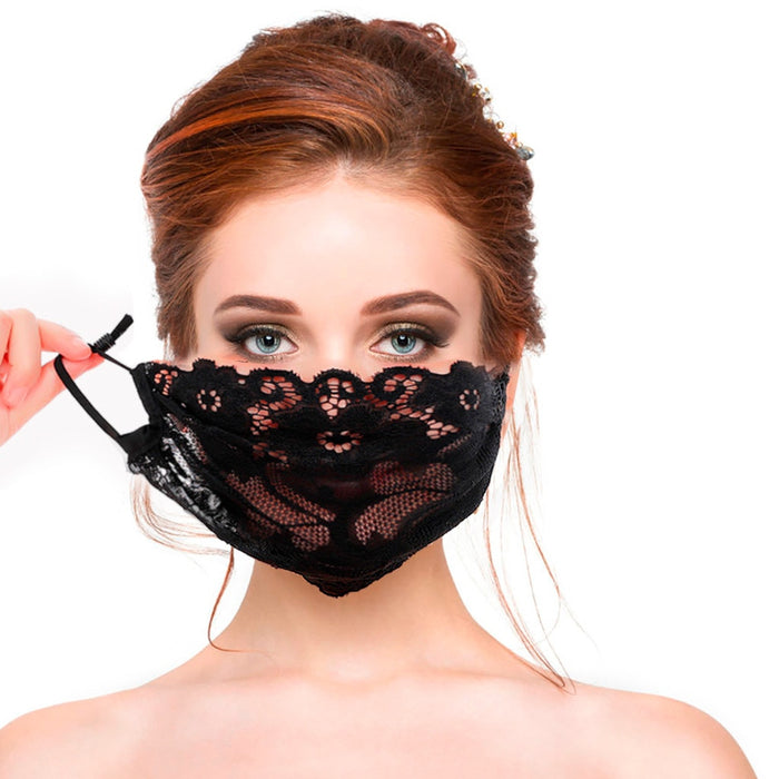 Mask For Face Máscara Ladies Single layer Black Embroidery Lace Adjustable Mesh Thin Bandage Breathable Mask